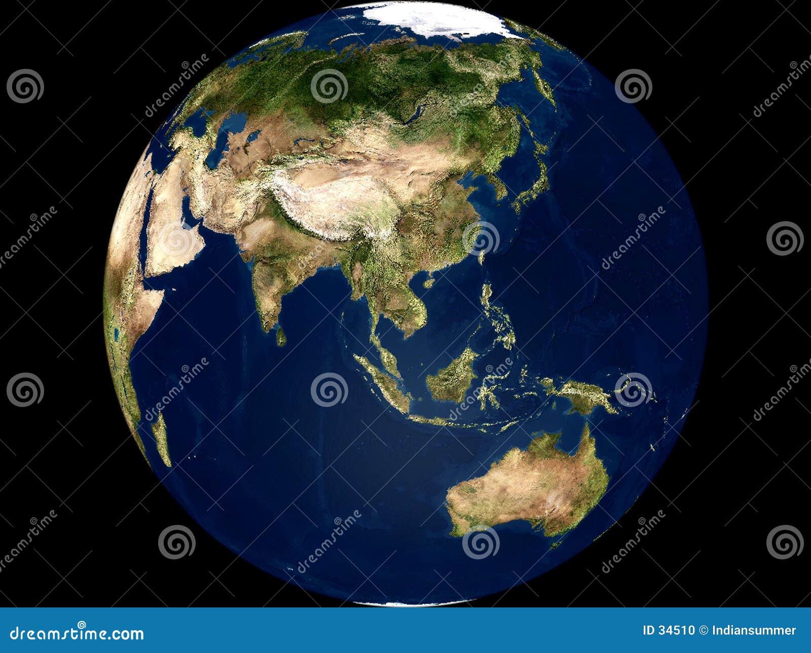 Vue de la terre - l Asie et l Australie