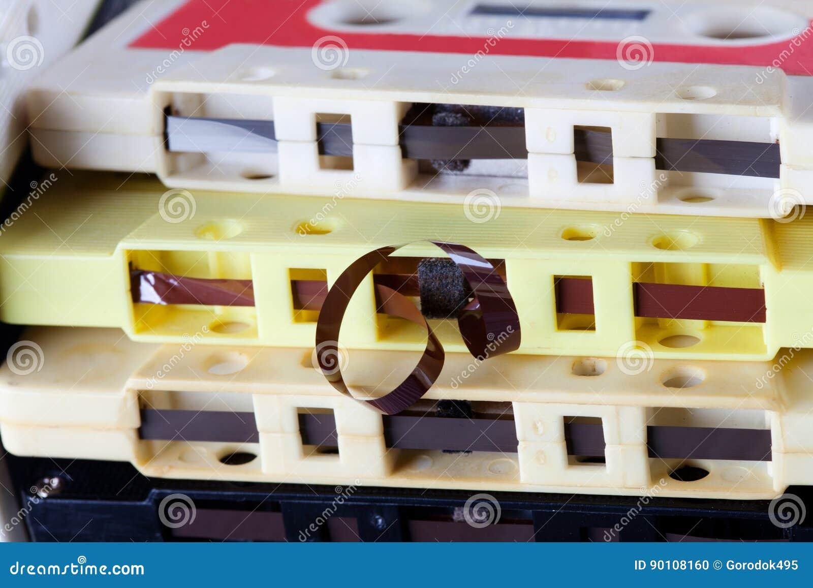 Vue de macro de bande magnétique de cassette sonore Placez les accessoires de musique de vintage pour le format jouant et de enre