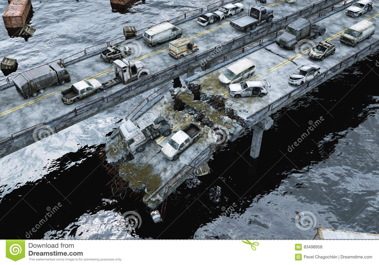 Vue de mer d apocalypse Passerelle détruite Concept d Armageddon rendu 3d