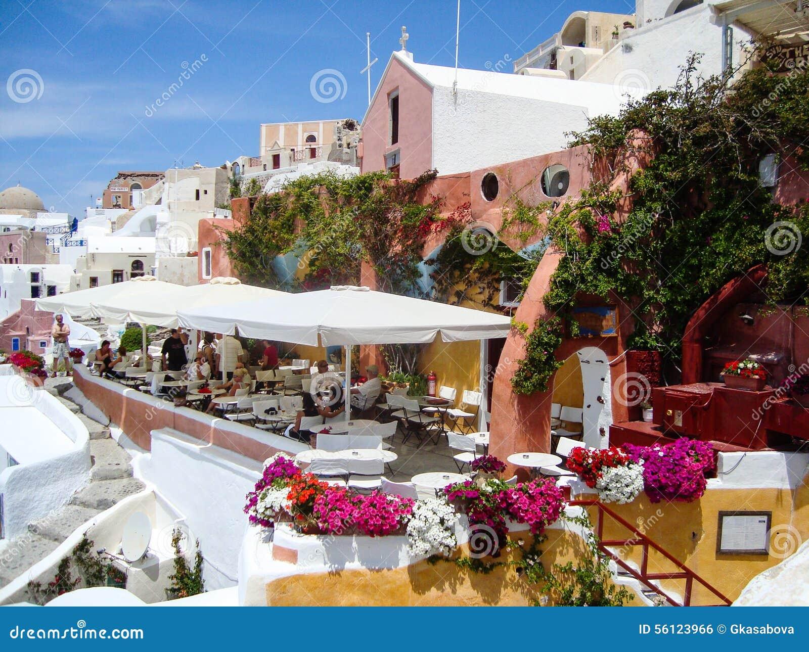 Vue De Mer De Santorini De Terrasse Romantique Photo Stock Image
