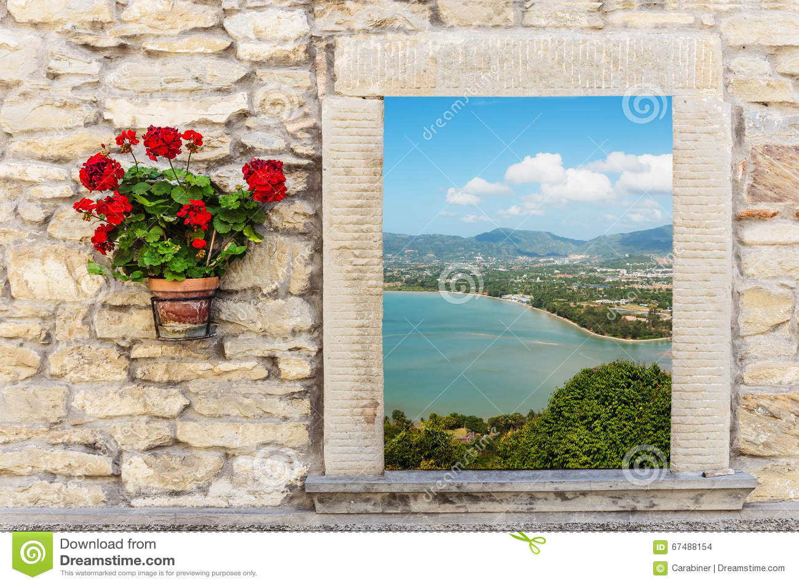 Vue de mer par la fen tre ouverte avec la fleur photo for Par la fenetre ouverte bonjour