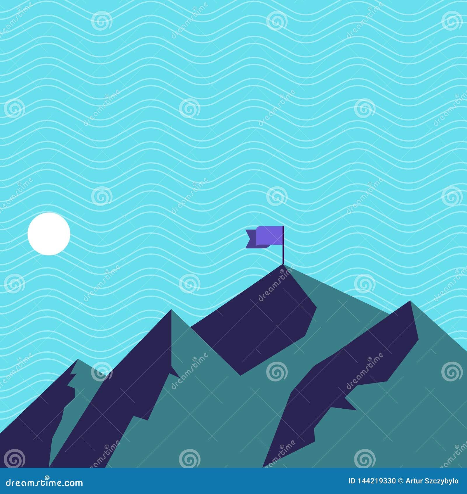 Vue de montagne et de collines avec l ombre indiquant la banni?re d heure et de drapeau sur une des cr?tes Autour de la lune ou d