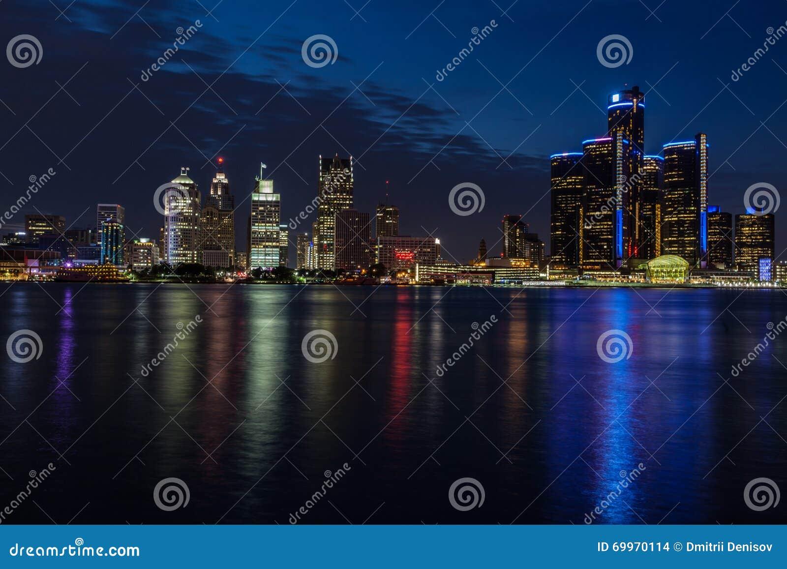 Vue de nuit de Detroit