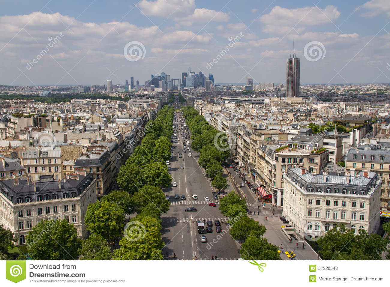 Vue de paris du haut d 39 arc de triomphe image stock image for Table vue de haut