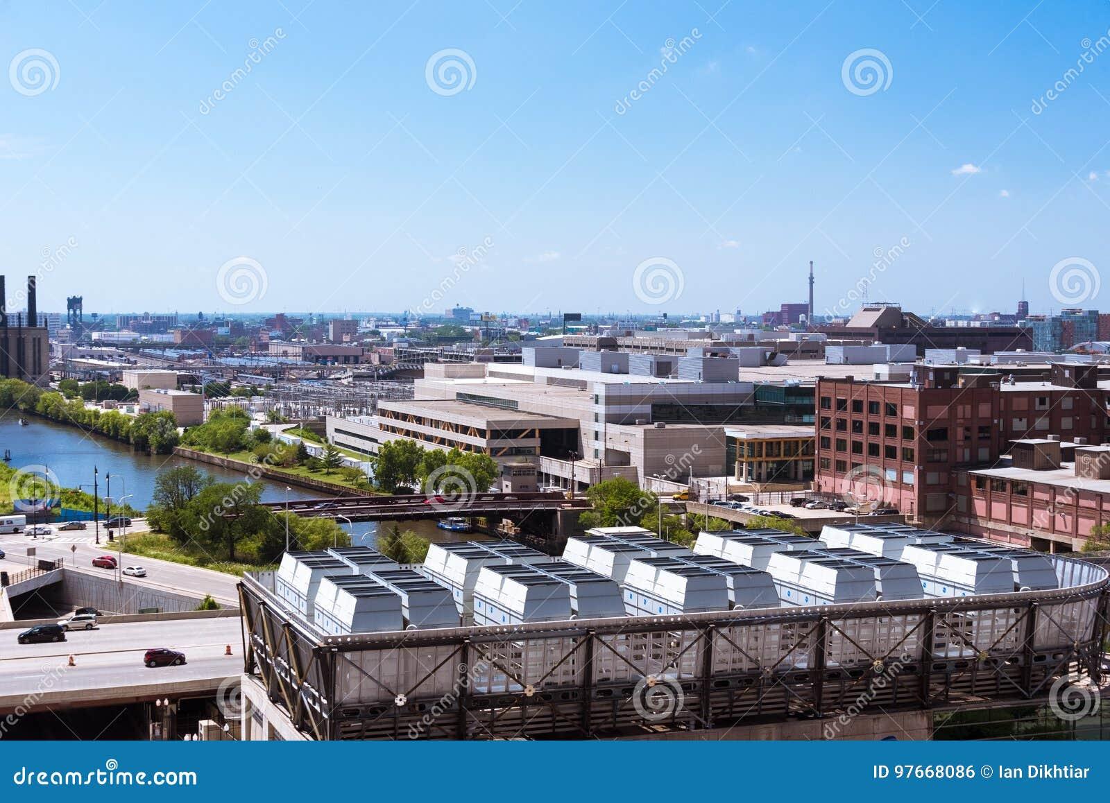 Vue de paysage de Chicago d un toit de bâtiment