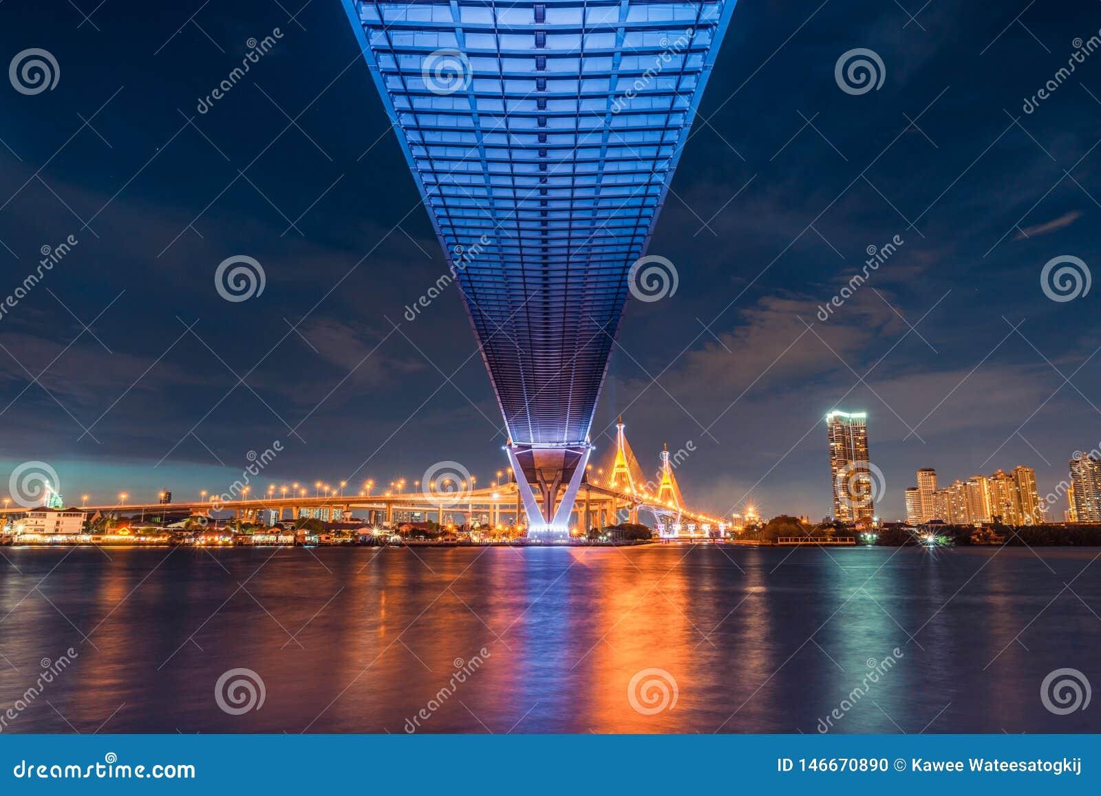 Vue de paysage de coucher du soleil de dessous le pont en route Transport, génie civil d architecte, ou concept d industrie du bâ