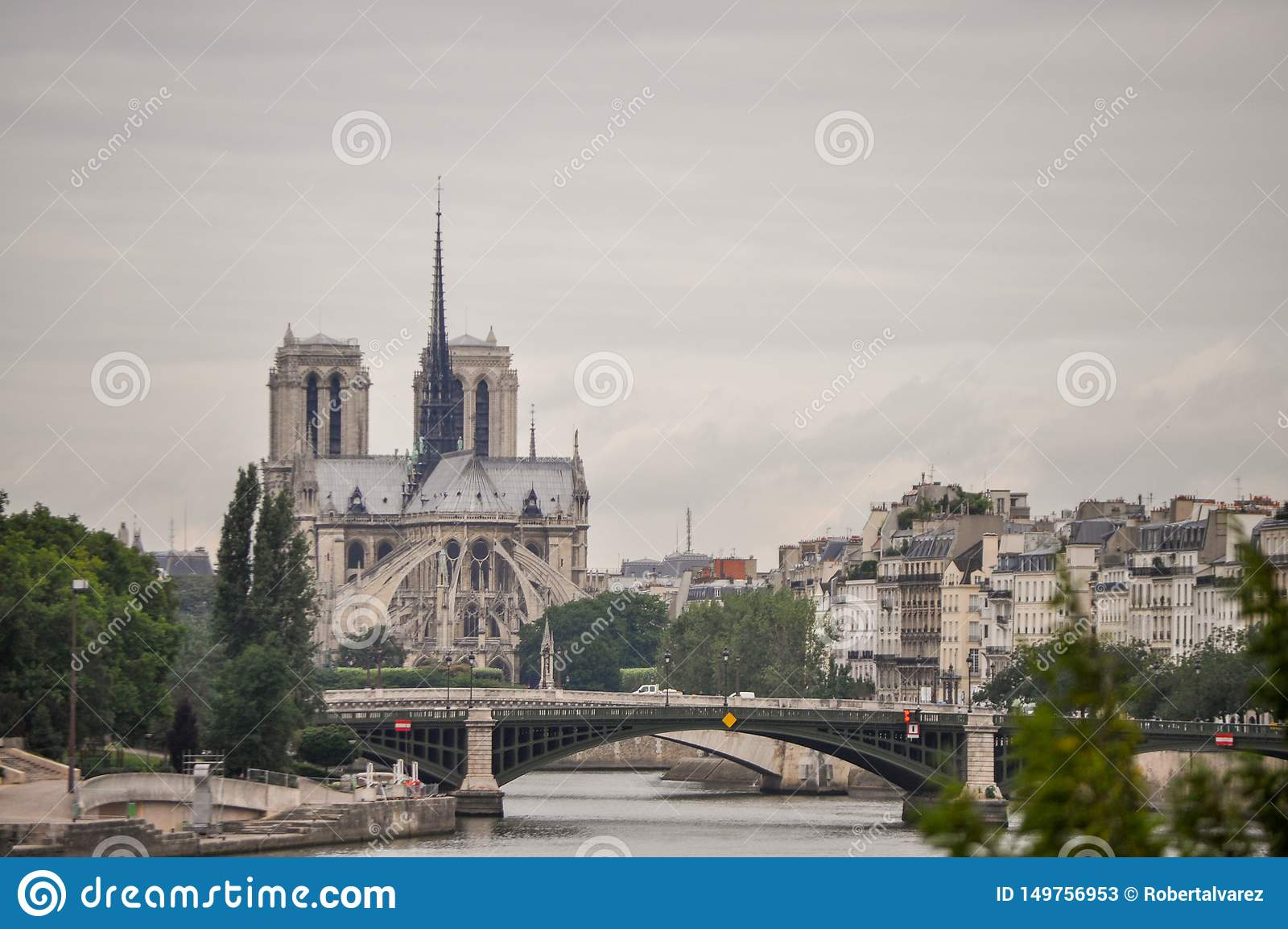 Vue de paysage Notre Dame Cathedral à Paris, France