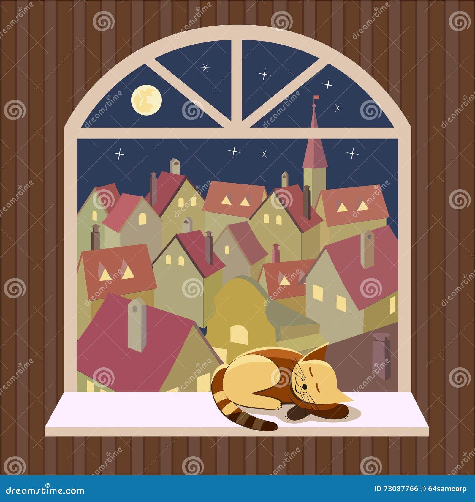 Vue de paysage urbain de nuit de fen tre ouverte for Par la fenetre ouverte bonjour