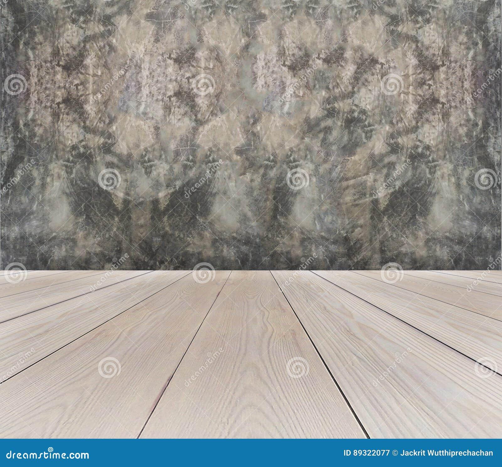 Vue de perspective de terrasse en bois brun clair vide avec Gray Concrete Wall Background Texture grunge abstrait utilisé comme v