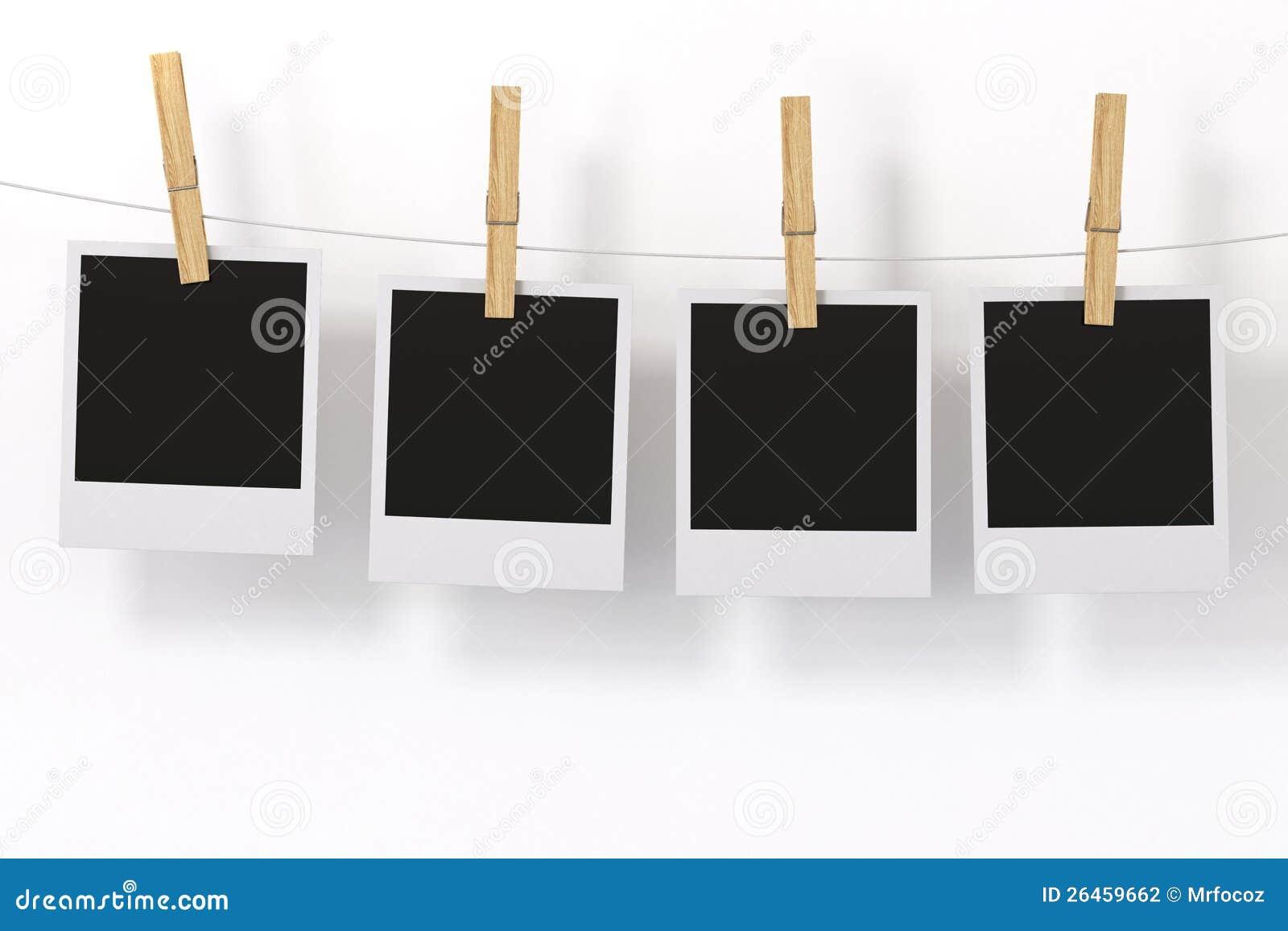 Vue de photo avec la pince linge photographie stock - Cadre photo avec pince linge ...