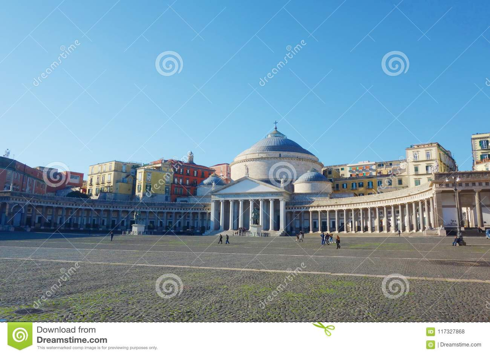 Vue de Piazza del Plebiscito, Naples, Campanie, Italie