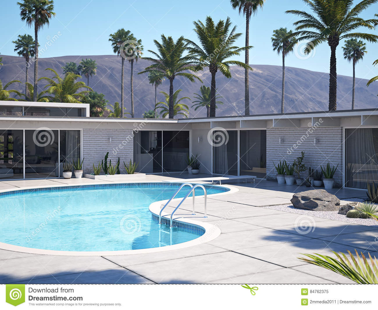 Vue de piscine et d 39 ext rieur moderne de maison rendu 3d illustration stock illustration du for Exterieur maison 3d