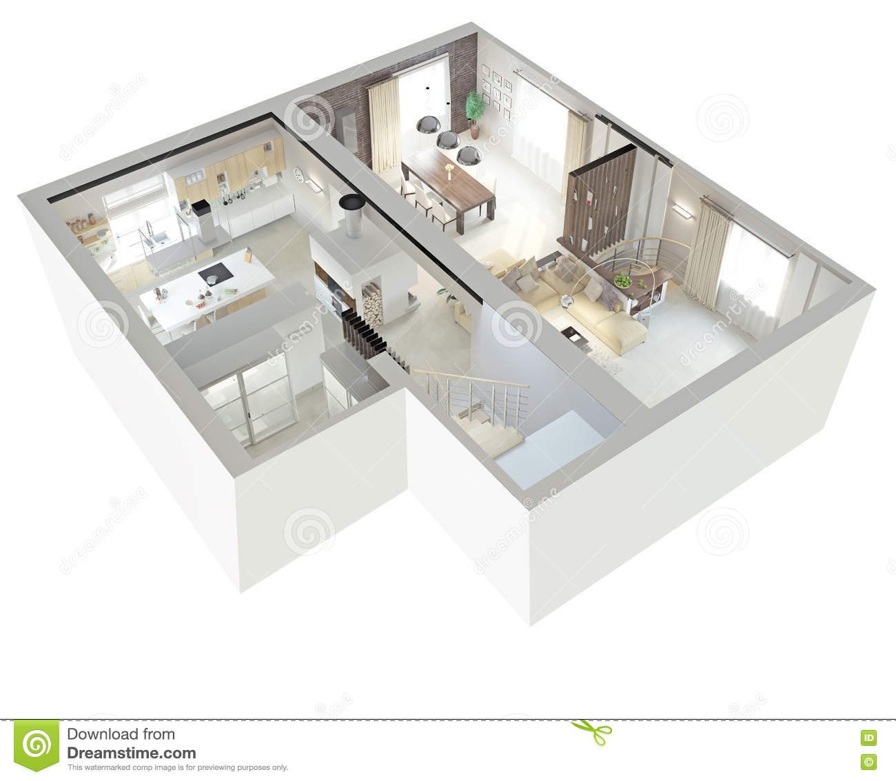 Vue de plan d 39 un appartement illustration stock for Conception 3d appartement