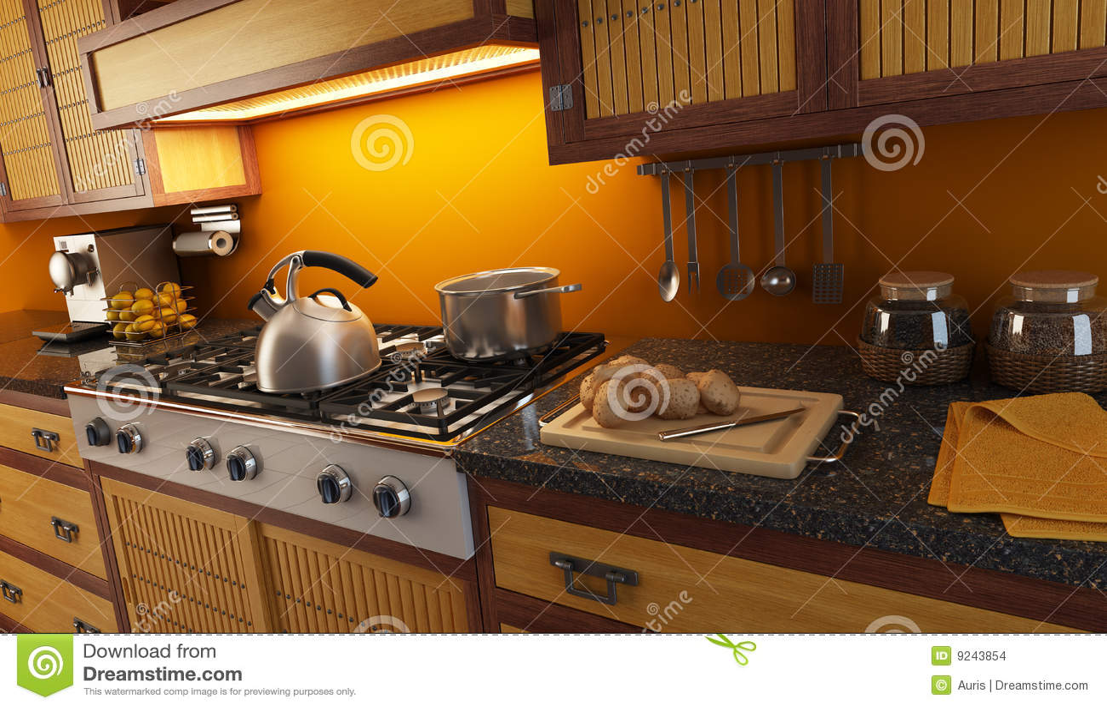 Vue de plan rapproch de cuisine moderne for Cuisine 3d bessines