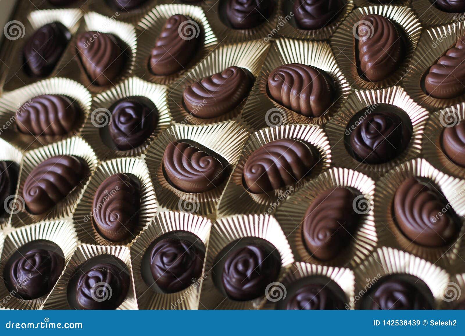 Vue de plan rapproché de la boîte de chocolats, vue d en haut