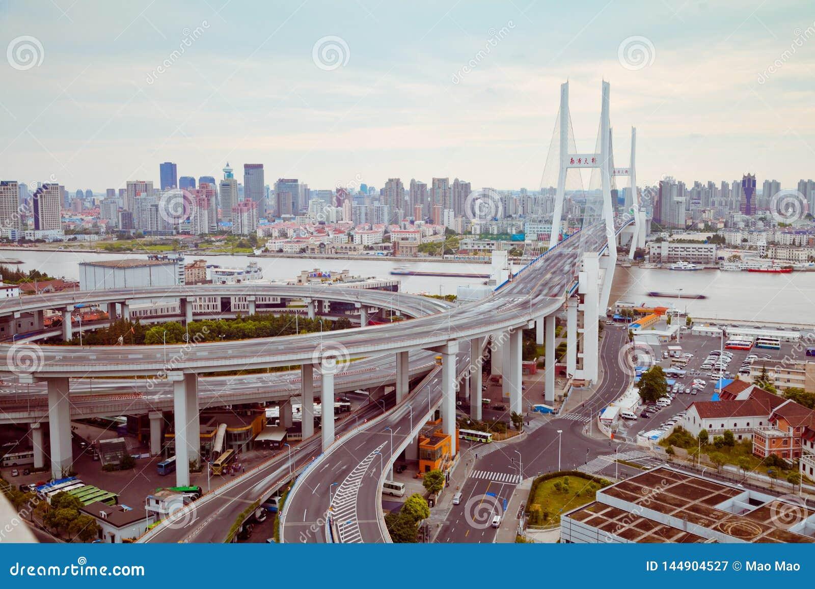 Vue de pont de Changhaï Nanpu, Changhaï, Chine vue de pont de Changhaï Nanpu, Changhaï, Chine