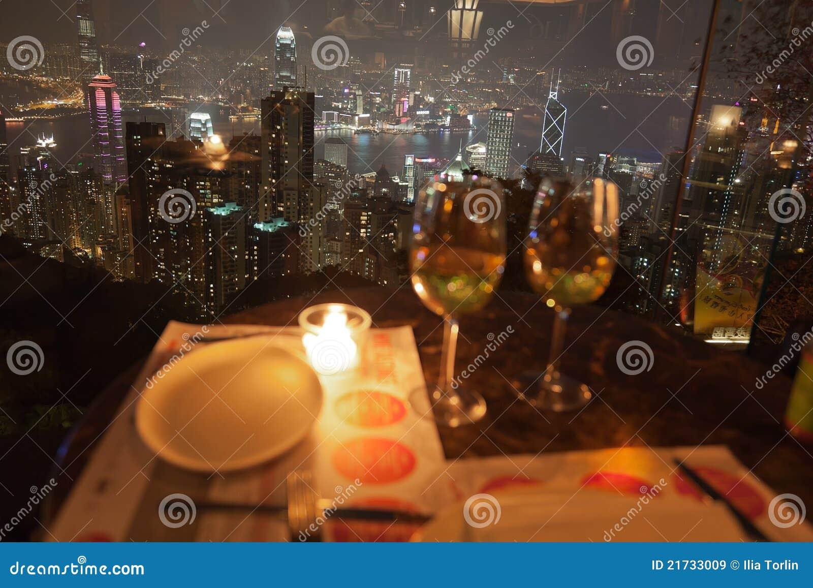 Vue de restaurant sur la crête. Hong Kong.