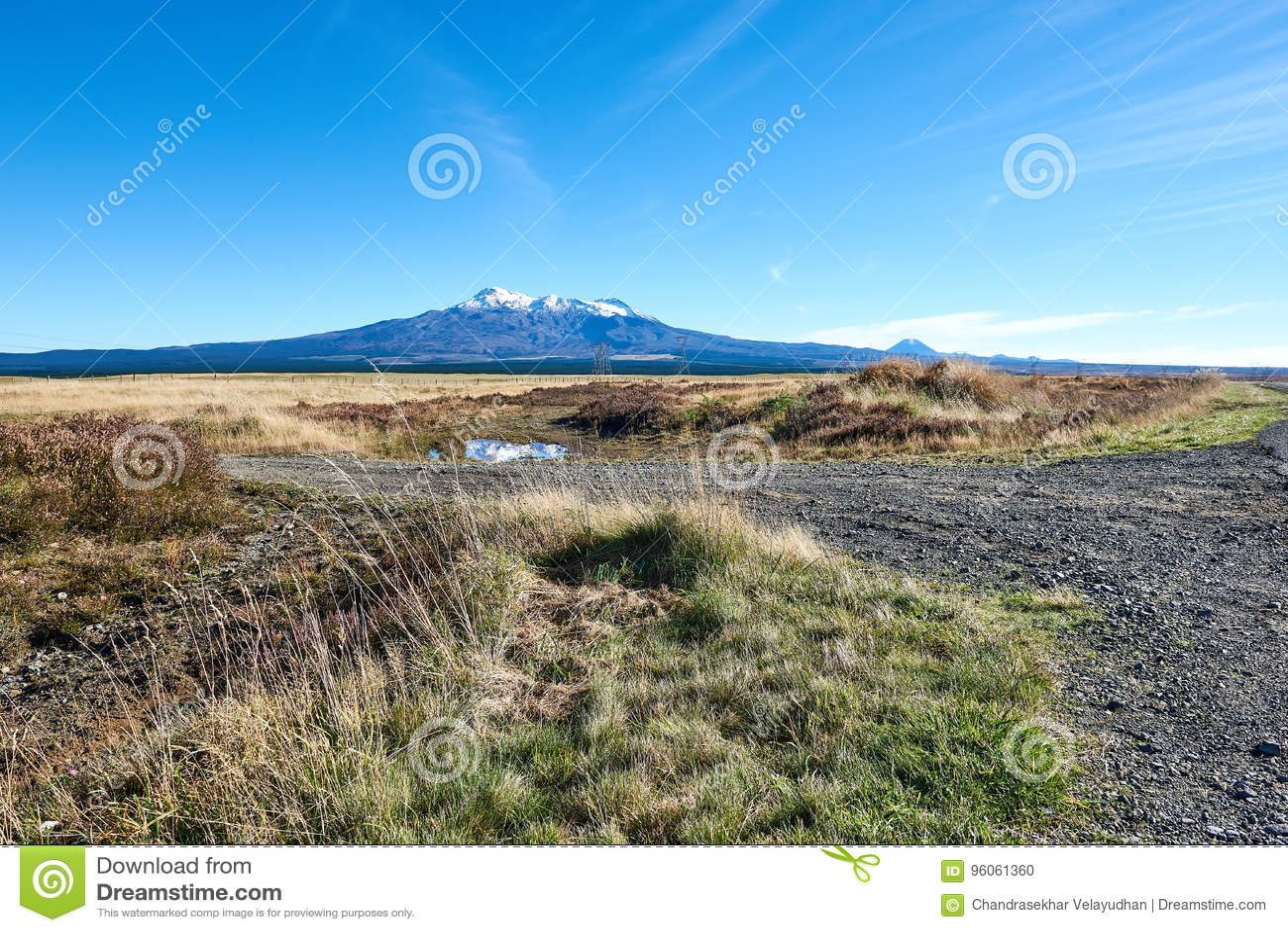 Vue de Ruapehu de la route de désert au Nouvelle-Zélande