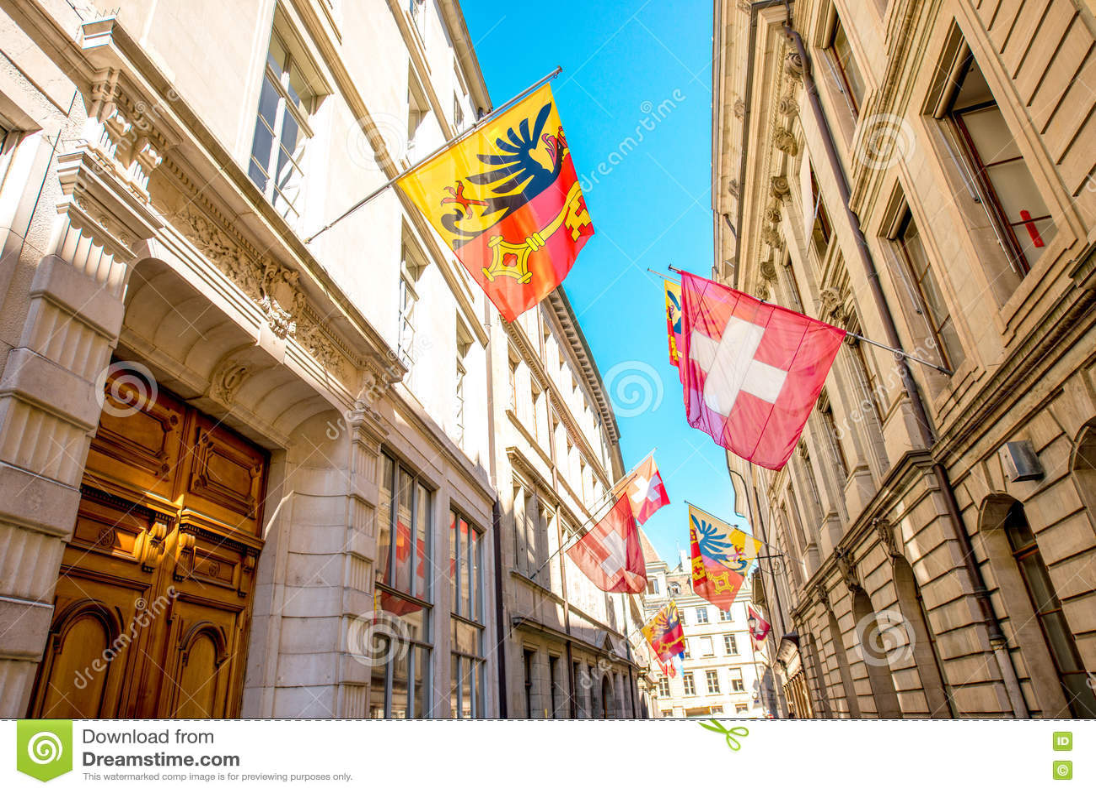 Vue de rue dans la ville de Genève