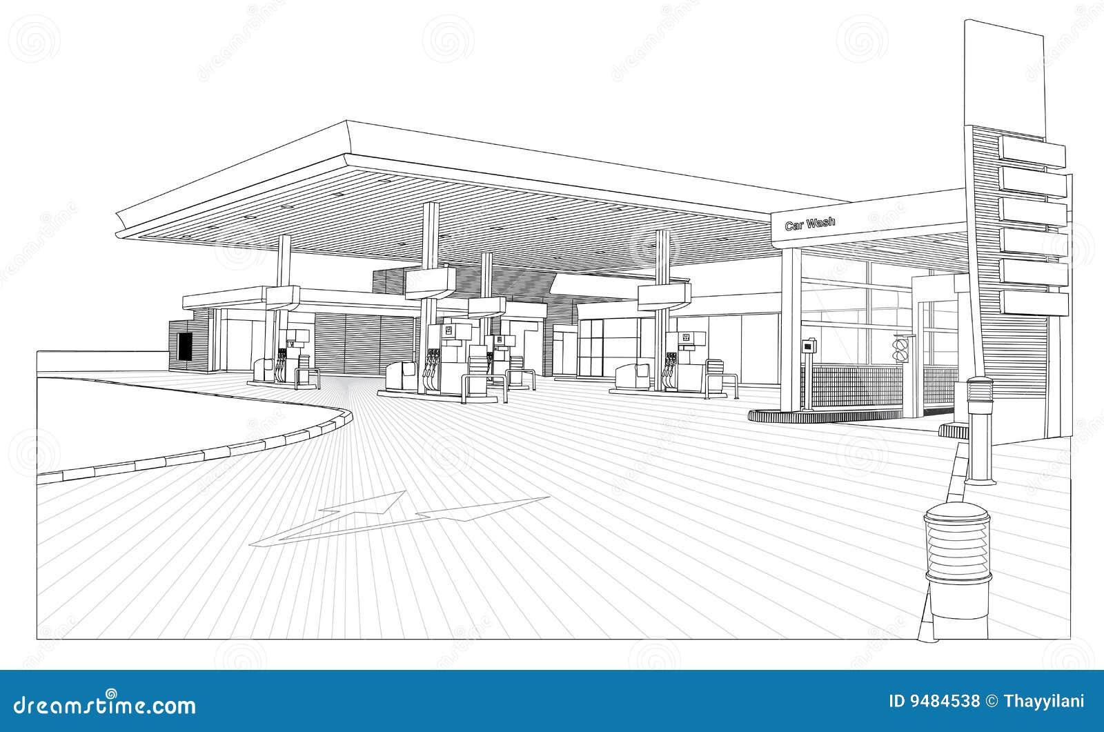 vue de station service d 39 ensemble illustration stock illustration du automobile gris 9484538. Black Bedroom Furniture Sets. Home Design Ideas