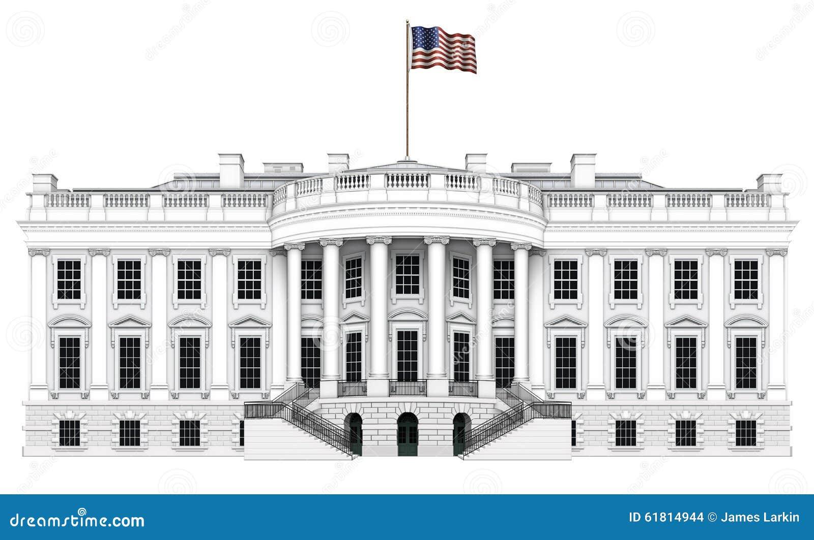 Vue de sud de la maison blanche illustration stock image for Architecture de la maison blanche