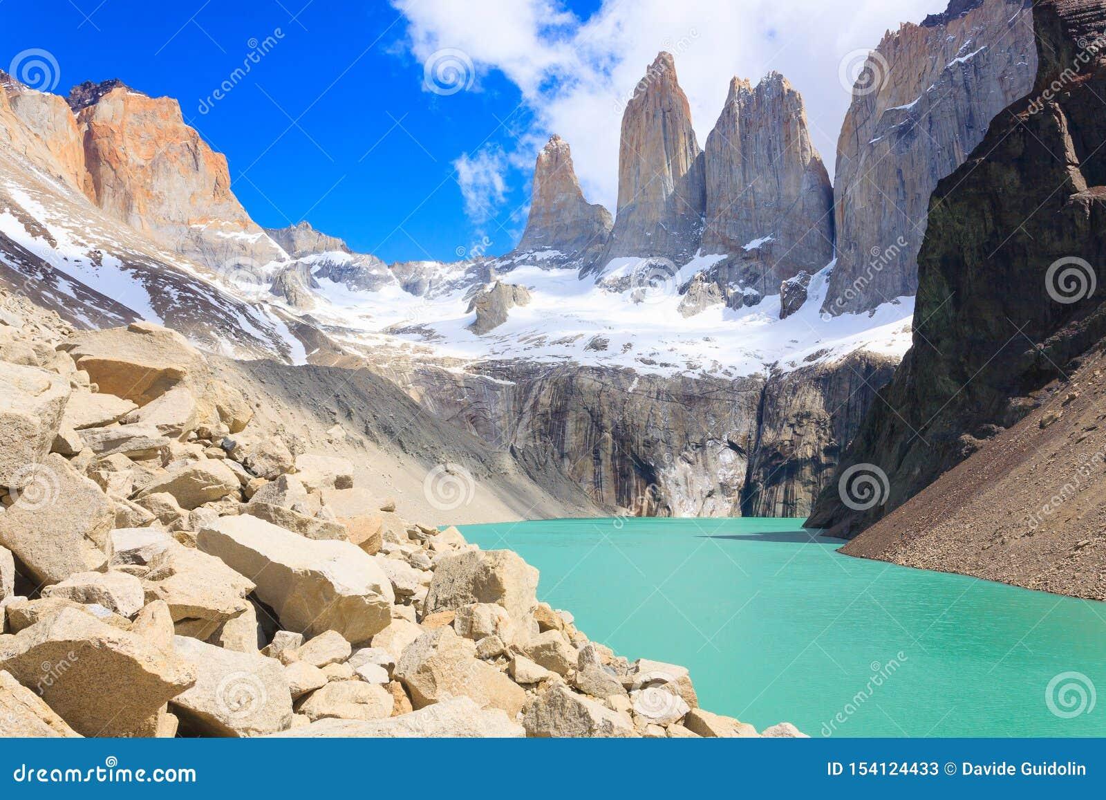 Vue de Torres del Paine, point de vue bas de Las Torres, Chili