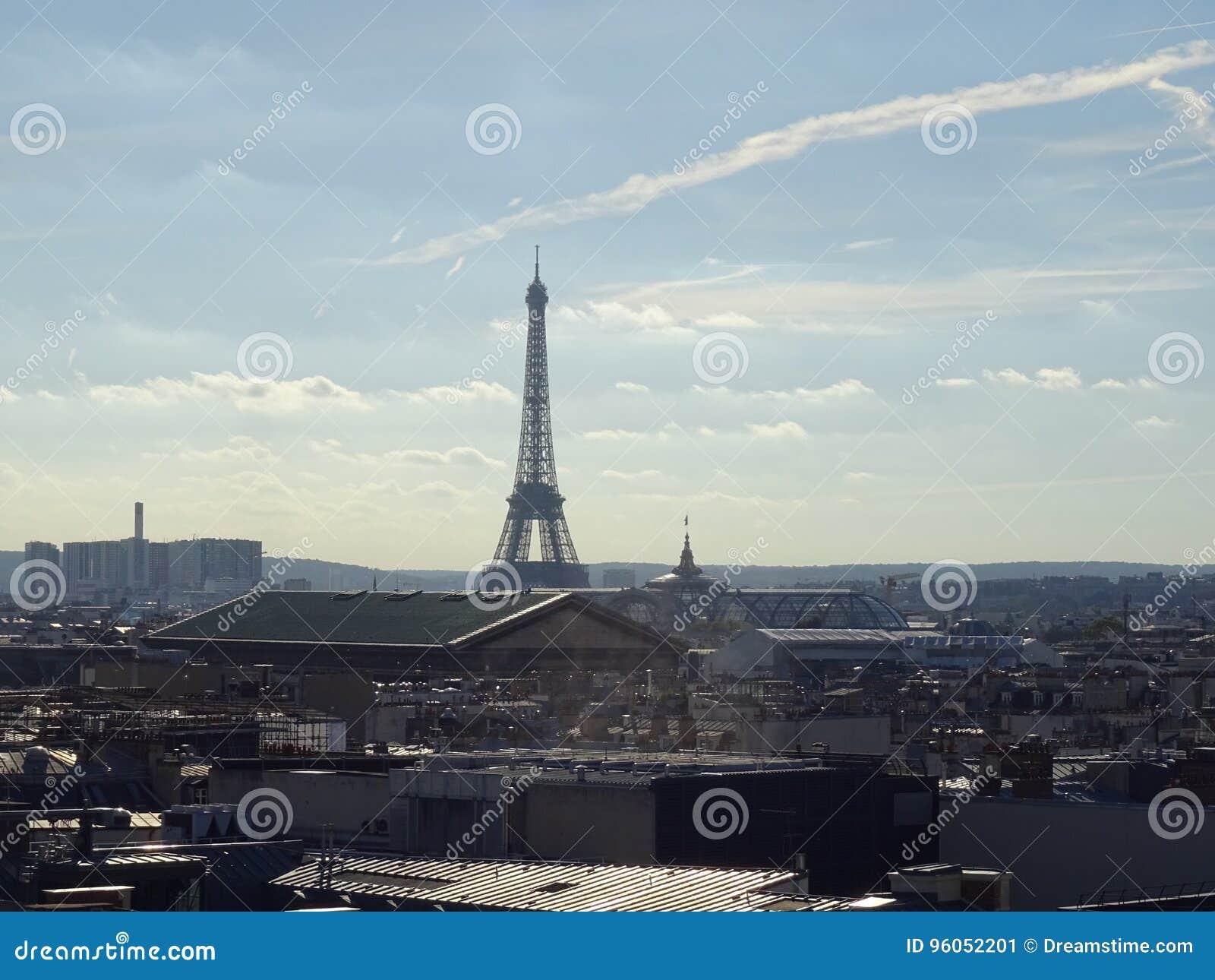 Vue de Tour Eiffel et des toits de Paris