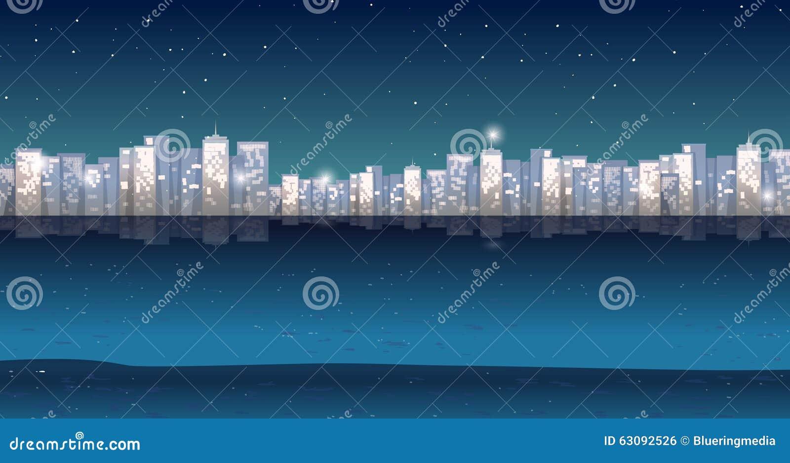 Download Vue de ville à la nuit illustration de vecteur. Illustration du fleuve - 63092526