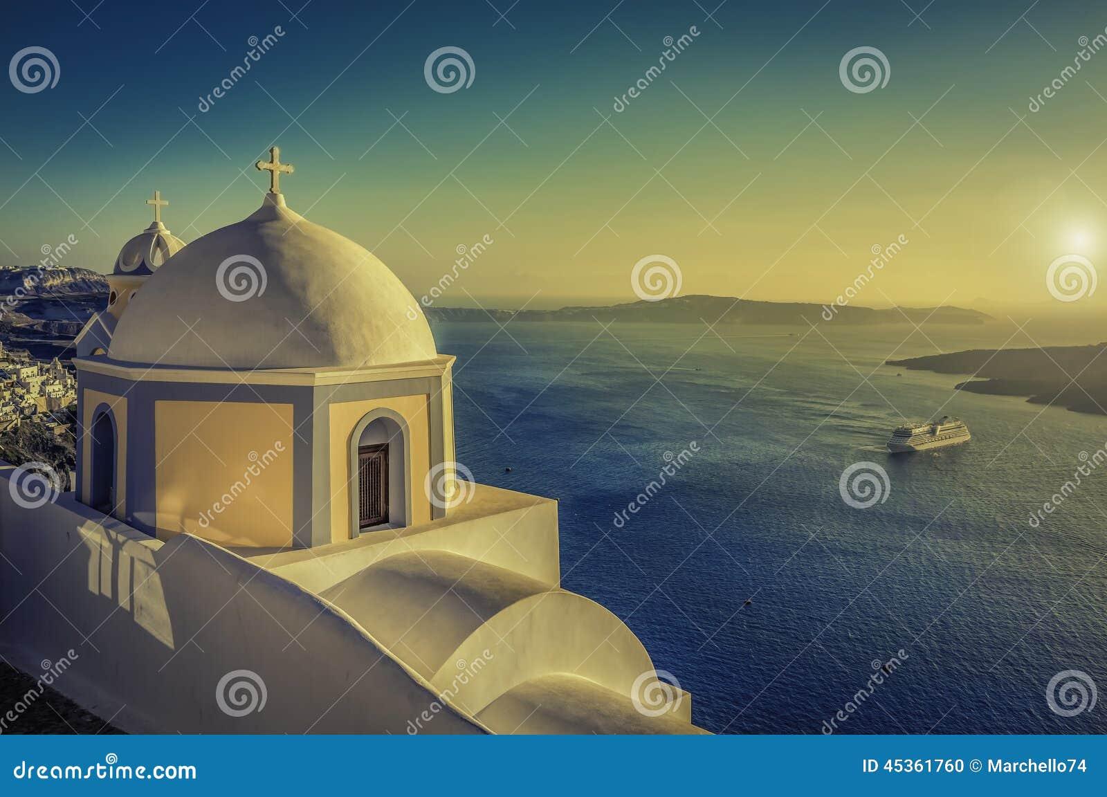 Vue de vintage de caldeira dans Santorini, Grèce