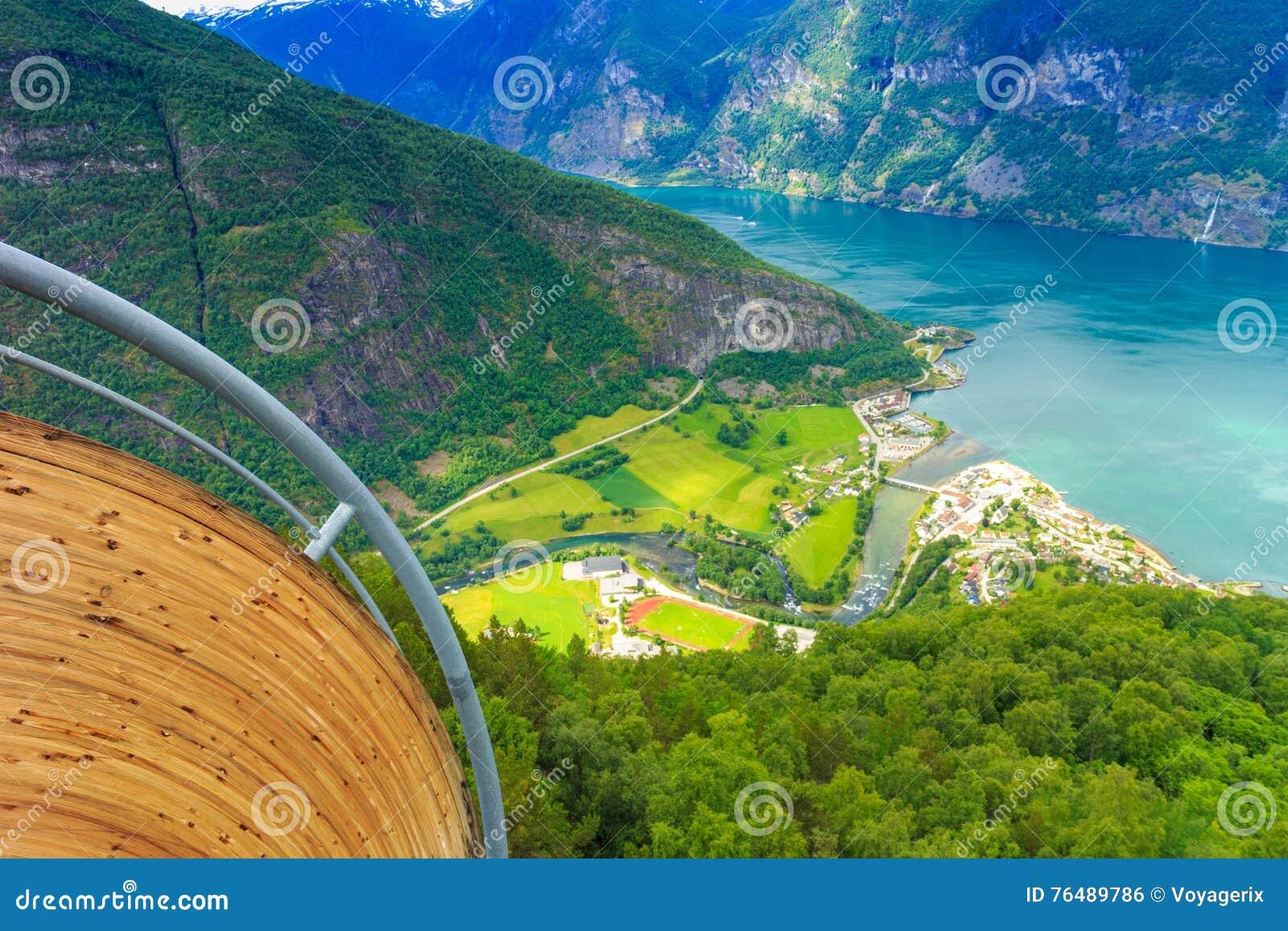 vue des fjords au point de vue de stegastein en norv ge photo stock image 76489786. Black Bedroom Furniture Sets. Home Design Ideas