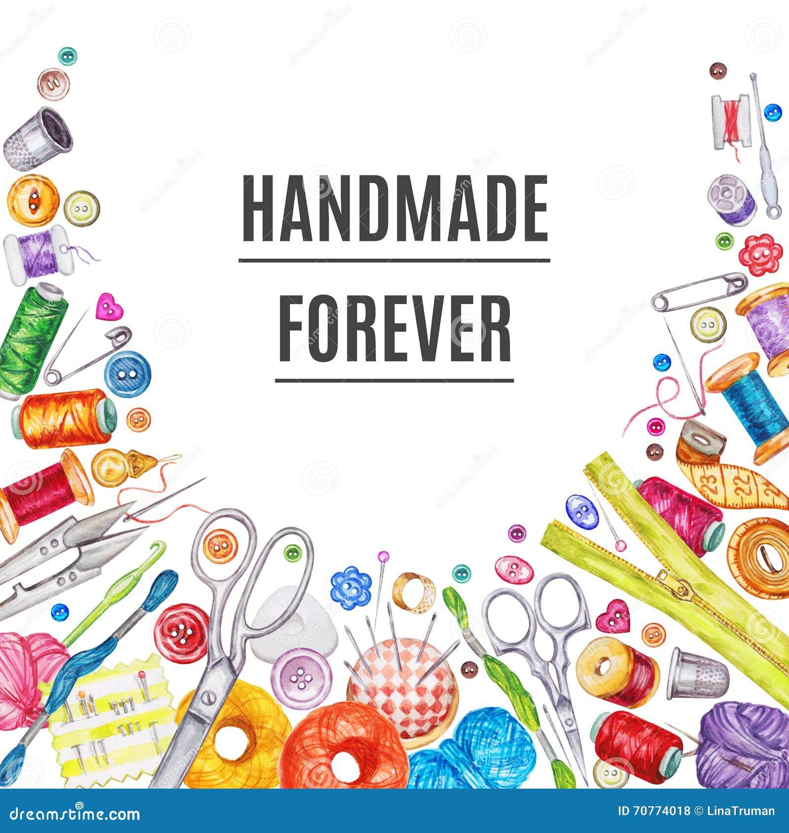 Vue des outils de couture de diverse aquarelle Kit de couture