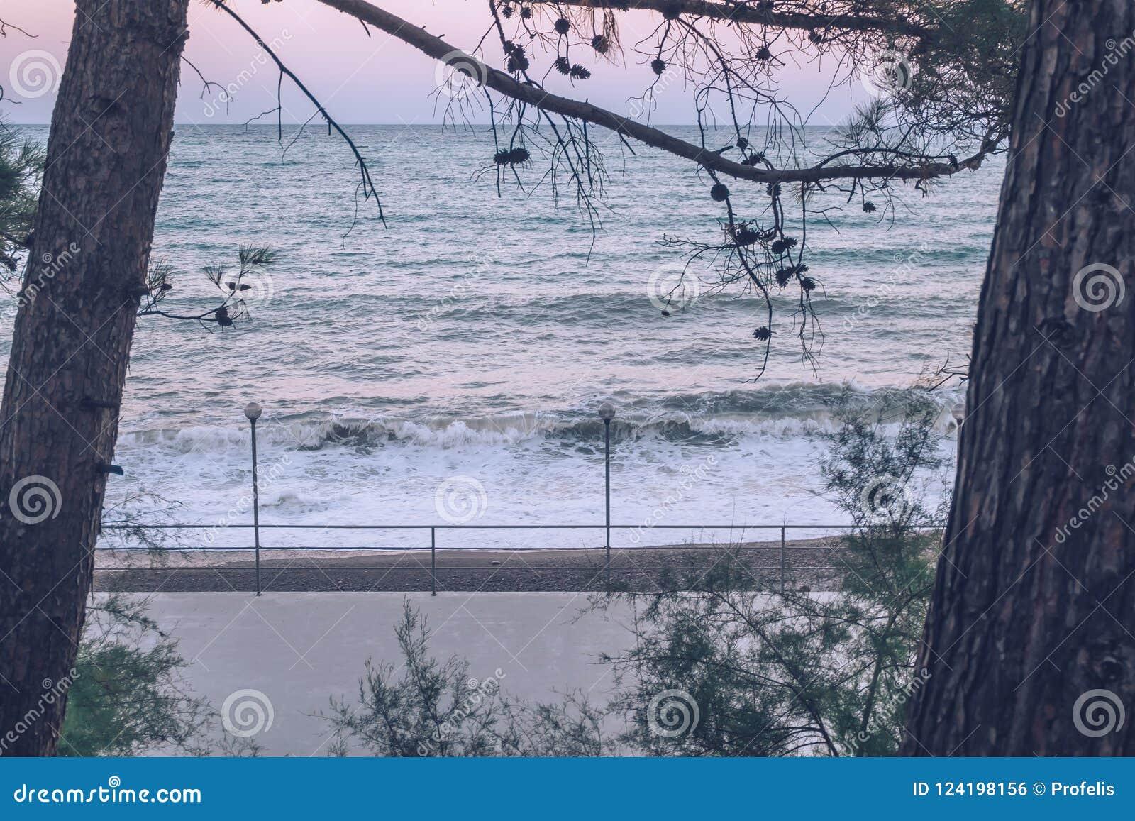 Vue des vagues le soir au coucher du soleil Littoral Plage storm