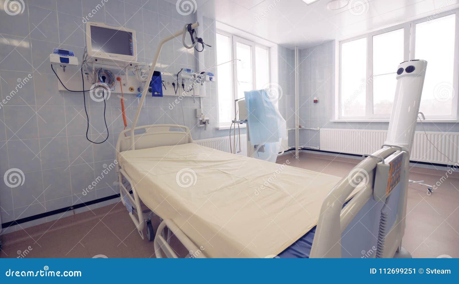 Vue Générale D\'une Chambre D\'hôpital Avec Un Lit Simple Et Un ...