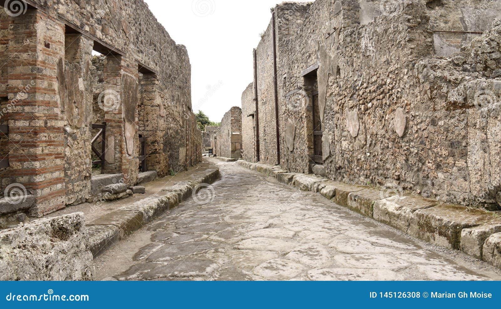 Vue générale de la vue antique de rue de brique de Pompeii