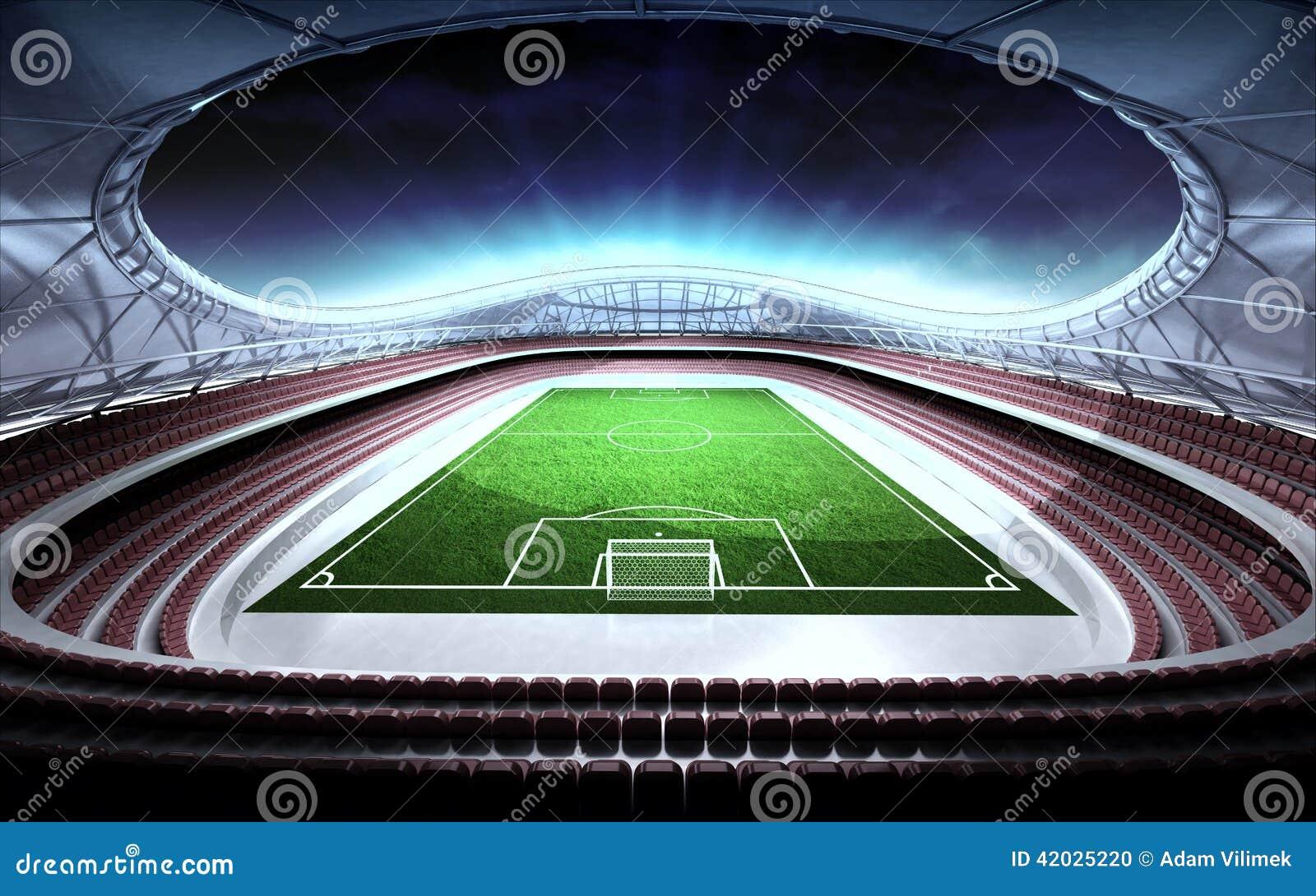 Vue générale de stade de football avec le fond nuageux