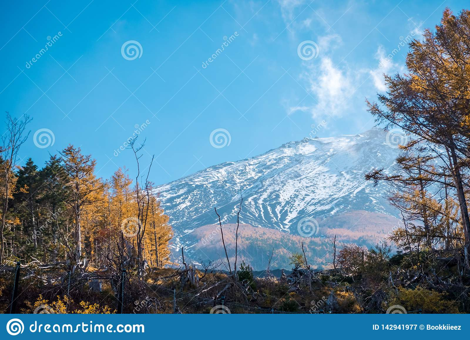 Vue haute étroite de montagne de Fuji