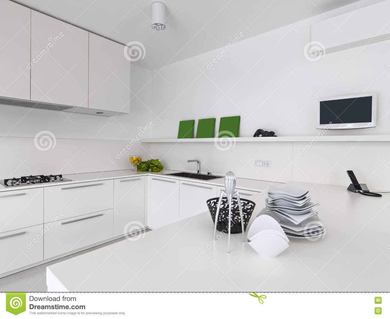 vue int rieure d 39 une cuisine moderne blanche illustration. Black Bedroom Furniture Sets. Home Design Ideas
