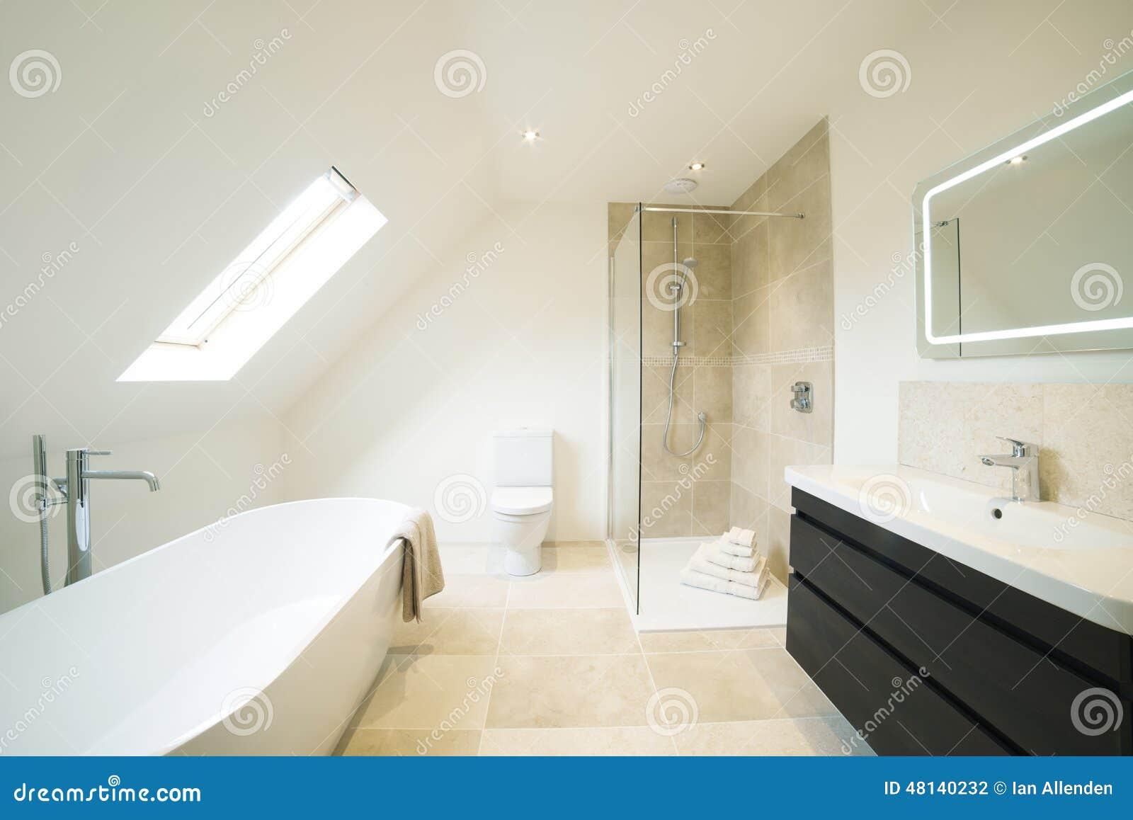 Vue intérieure de belle salle de bains de luxe