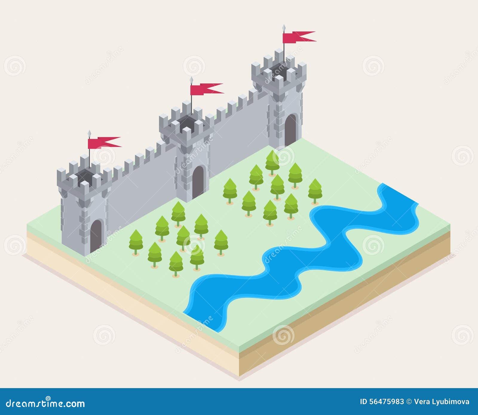 Vue isométrique d un château médiéval
