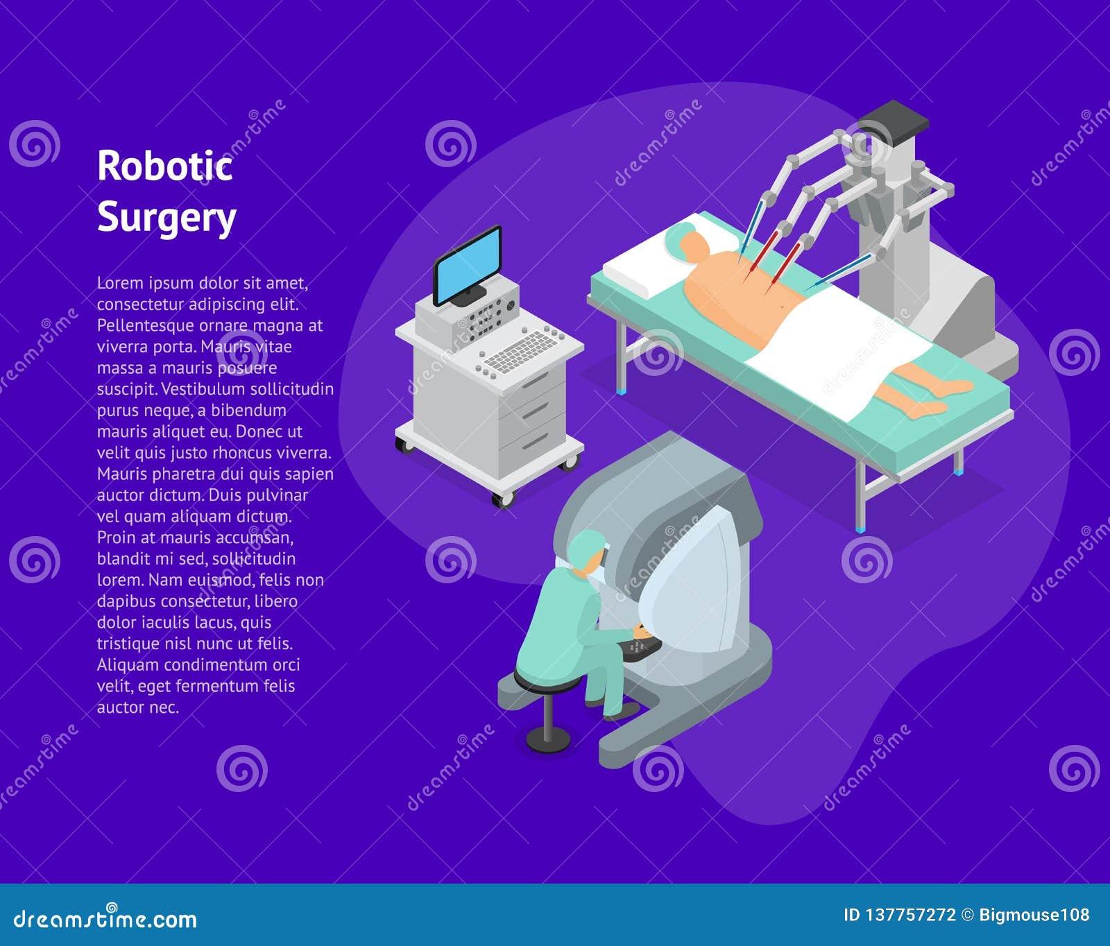 Vue isométrique de chirurgie de carte robotique du concept 3d Vecteur