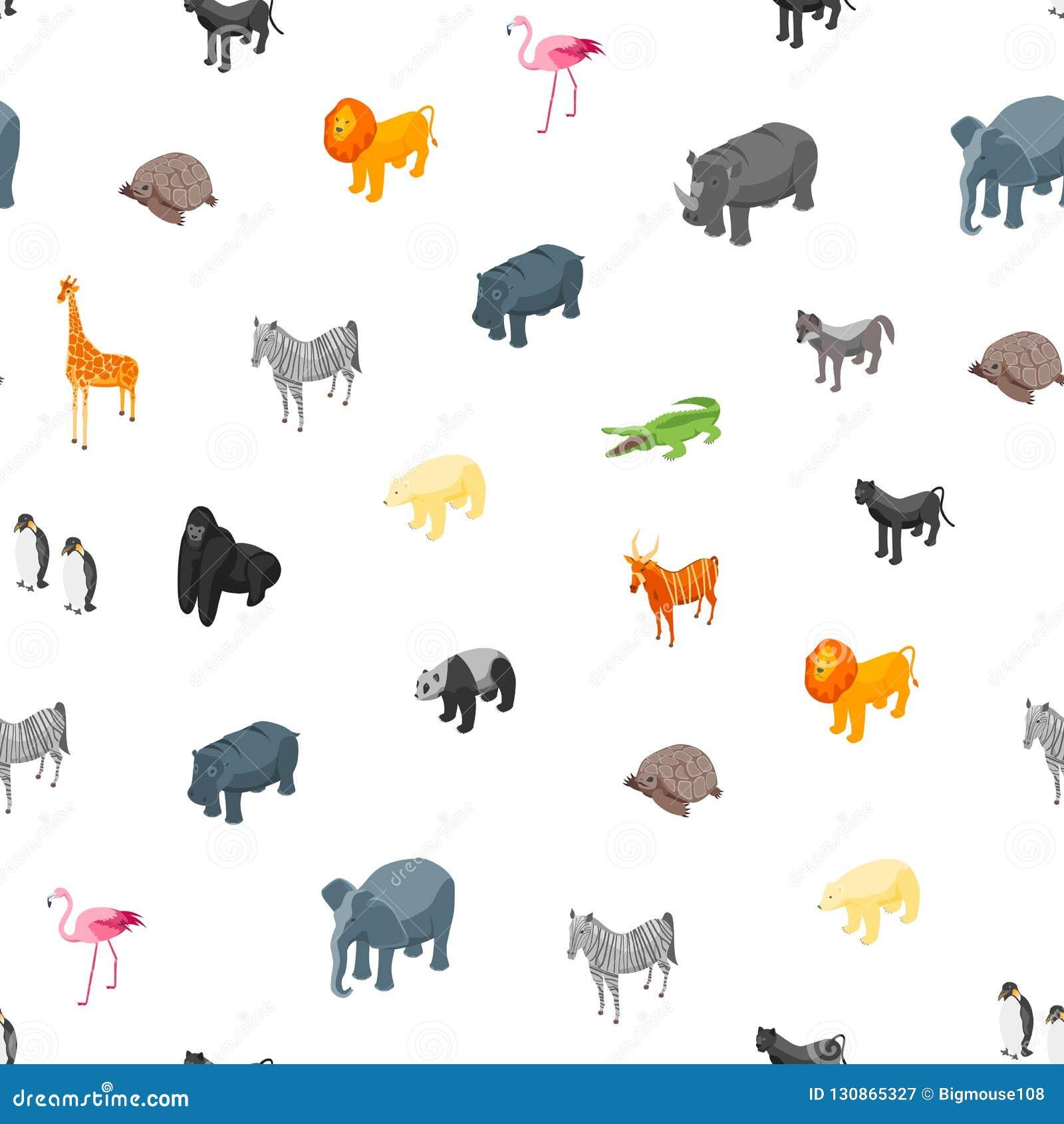 Vue isométrique de fond sans couture de modèle des animaux sauvages 3d Vecteur