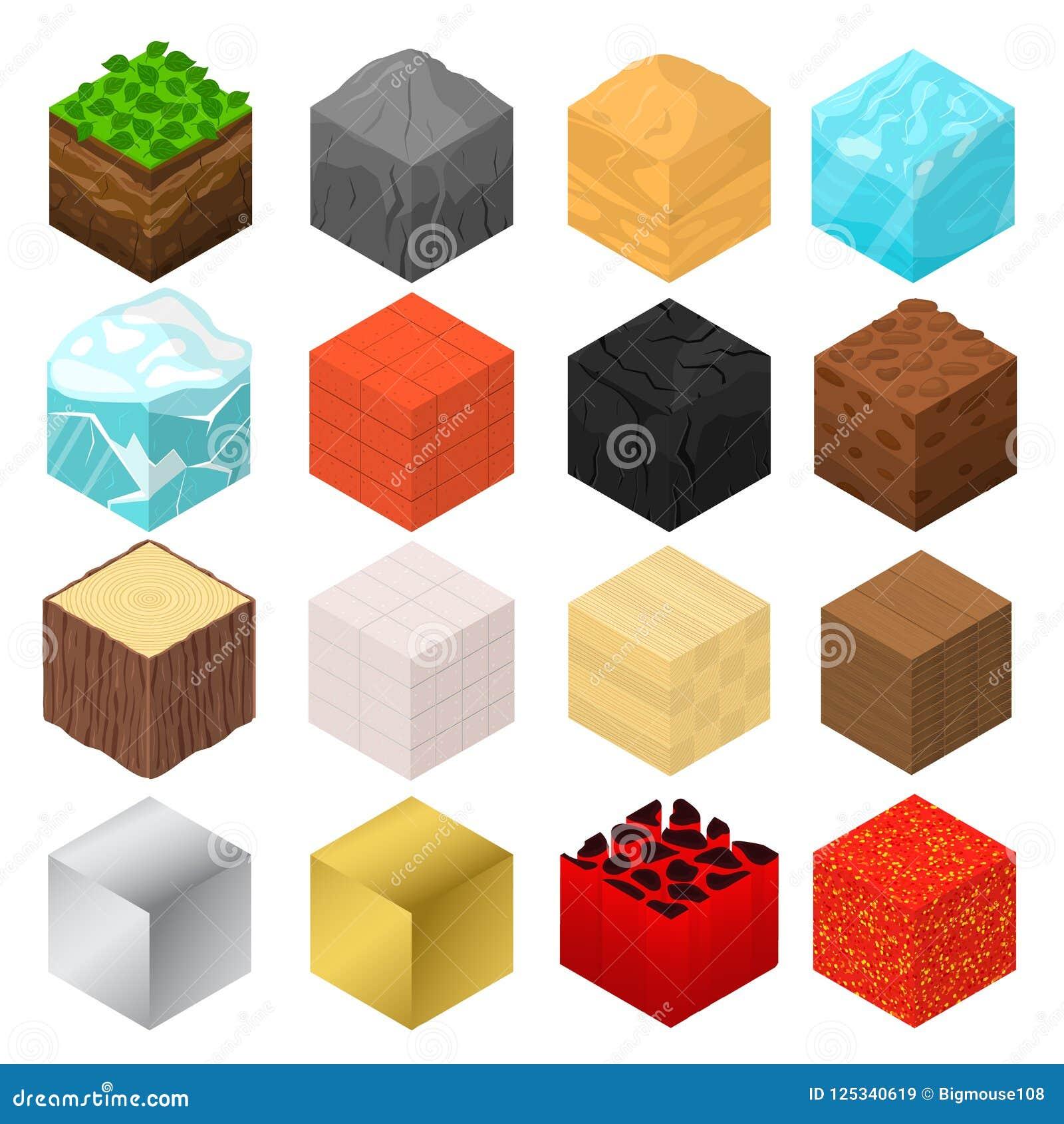 Vue isométrique réglée d icône des signes 3d de cubes en mine Vecteur