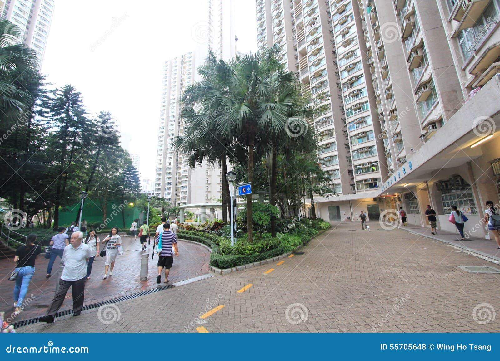 Vue kwan de rue de Tseung o en Hong Kong