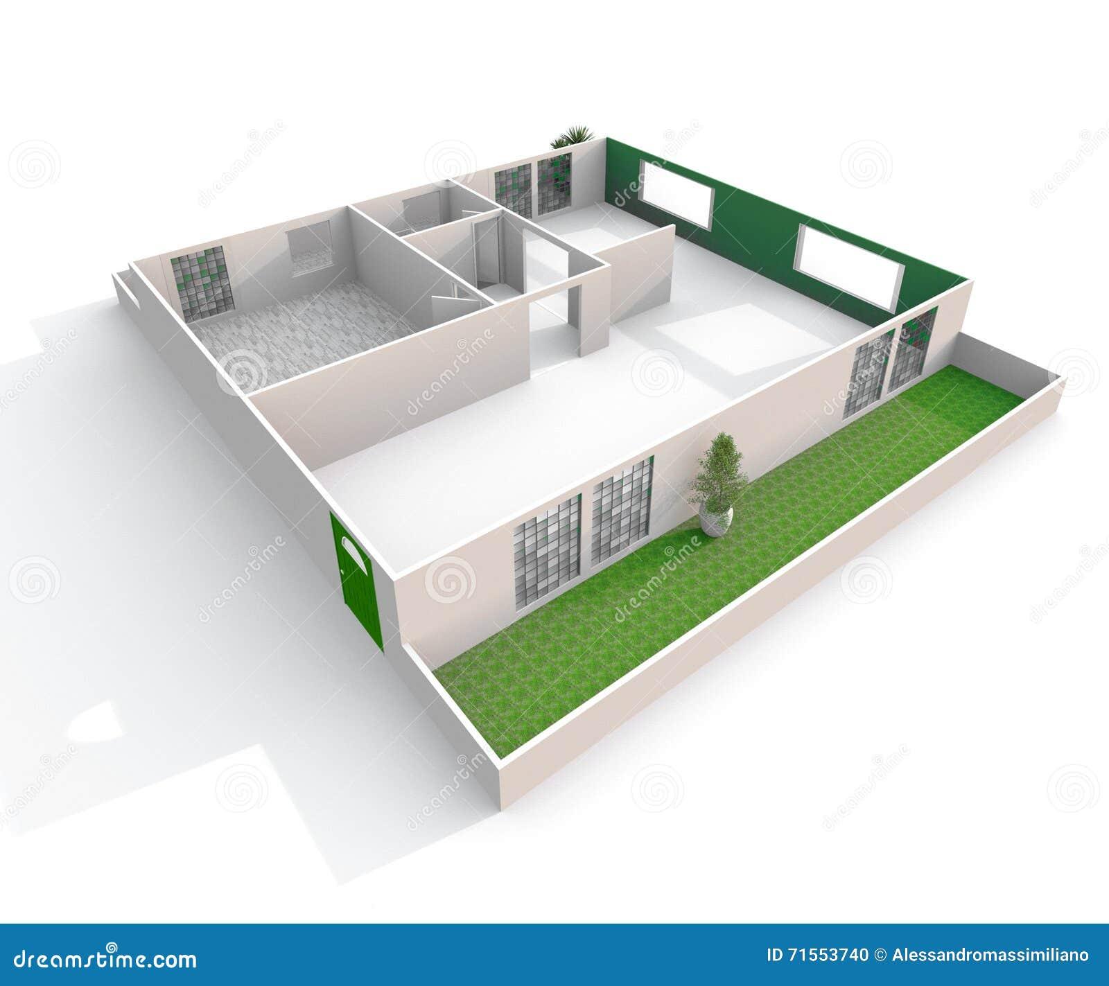 Vue Oblique Du Rendu 3d Intérieur D\'appartement De Papier Vide De ...
