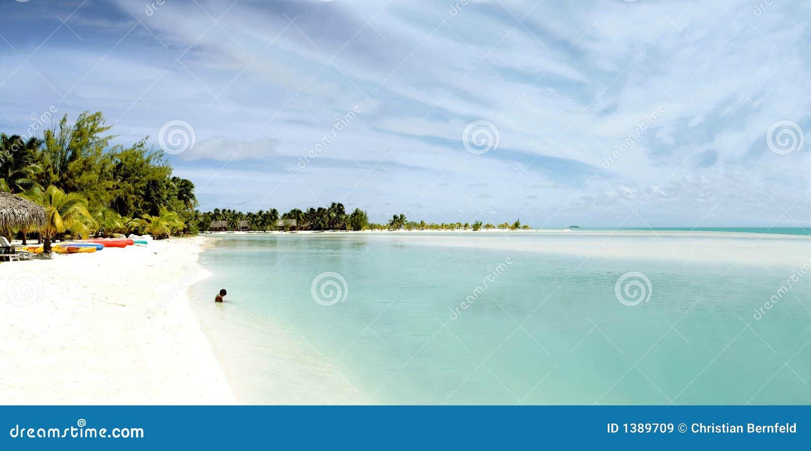 Vue panoramique énorme de lagune d Aitutaki
