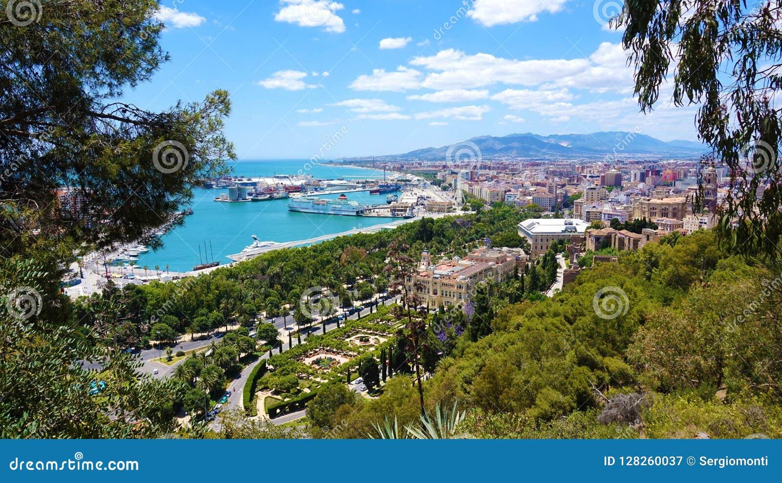 Vue panoramique étonnante de ville de Malaga, Andalousie, Espagne, l Europe