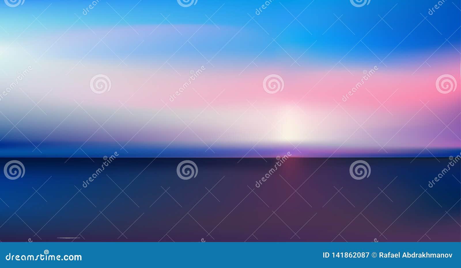 Vue panoramique aérienne de résumé de lever de soleil au-dessus d océan Rien mais ciel lumineux bleu et eau foncée profonde Belle