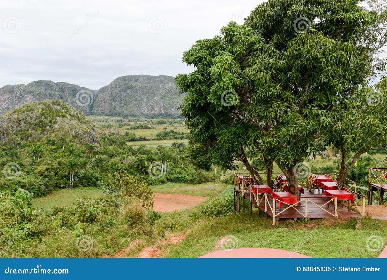 Vue panoramique au-dessus de paysage avec des mogotes en vallée de Vinales