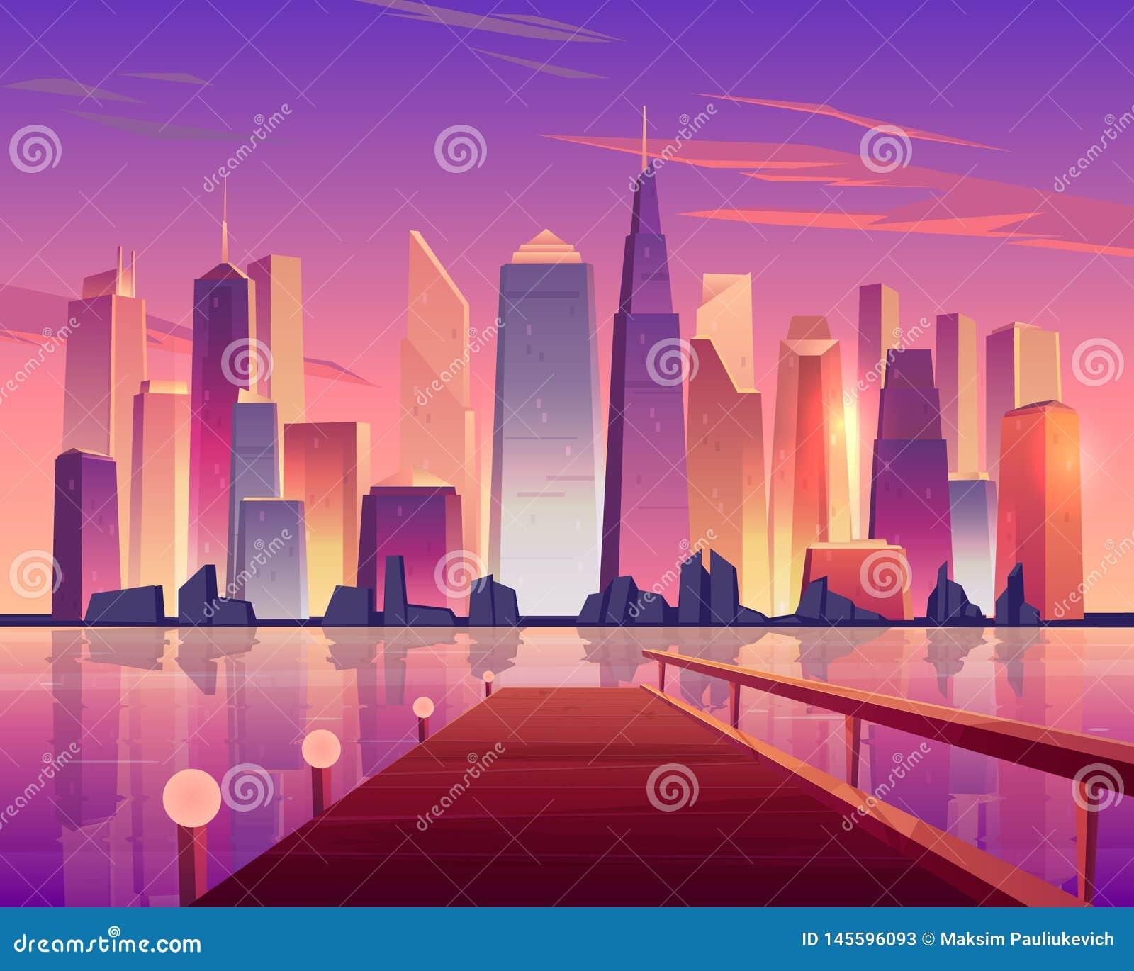Vue panoramique d horizon de ville de pilier de bord de mer