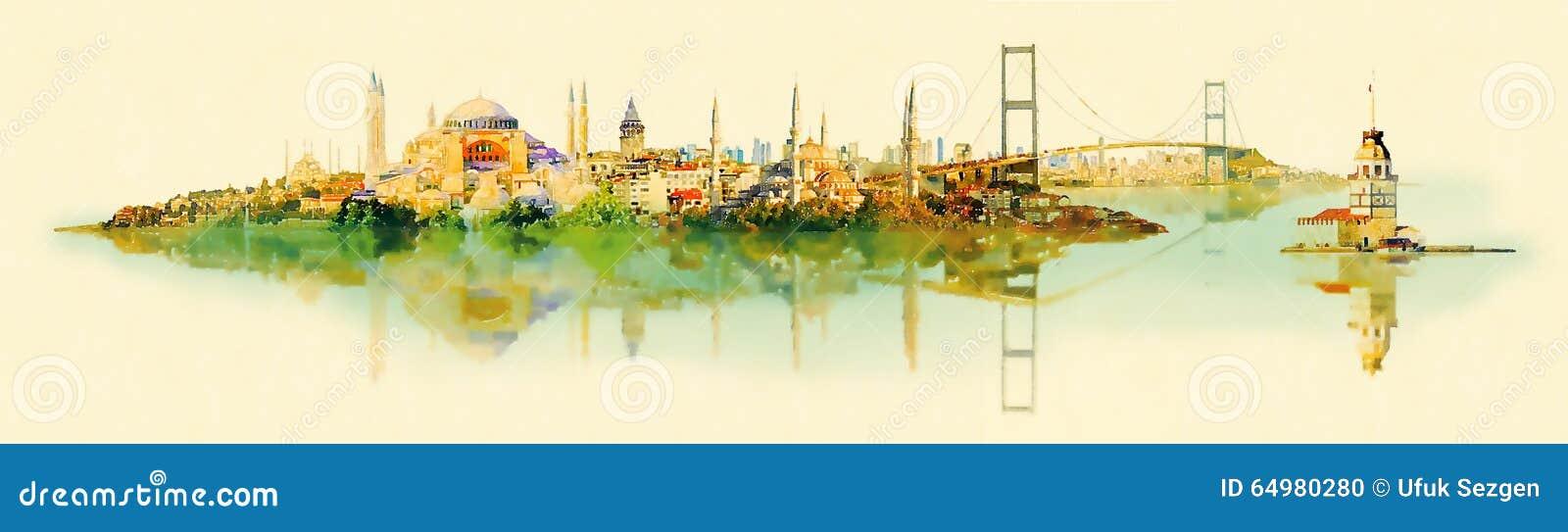 Vue panoramique d Istanbul d illustration de couleur de l eau de vecteur